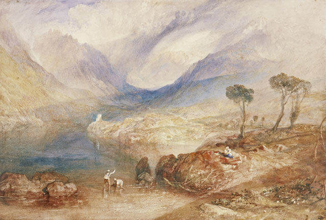 JMW Turner (1775-1851). Llanberis Lake and Snowdon - Caernarvon, Wales, about 1836. Watercolour on paper, 24.3 x 33.9 cm. Collection: Scottish National Gallery, Henry Vaughan Bequest 1900. Photo: © National Galleries of Scotland | Antonia Reeve.