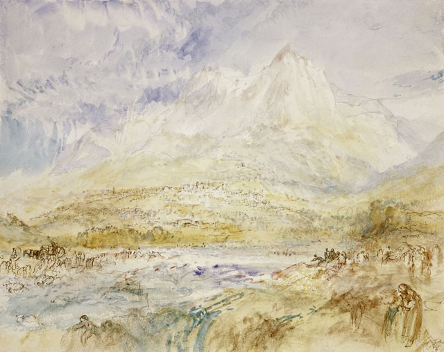 JMW Turner (1775-1851). Schwyz, about 1843. Watercolour over traces of black chalk with touches of pen and brown ink on paper, 22.6 x 28.8 cm. Collection: Scottish National Gallery, Henry Vaughan Bequest 1900. Photo: © National Galleries of Scotland | Antonia Reeve.