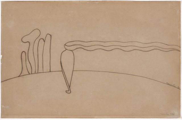 Tarsila do Amaral. Study for Composition (Lonely figure) III [Estudo de Composição (Figura só) III], 1930. Ink on paper, 8 11/16 x 13 in (22 x 33 cm). The Museum of Modern Art, New York. Gift of Max Perlingeiro through the Latin American and Caribbean Fund. © Tarsila do Amaral Licenciamentos.
