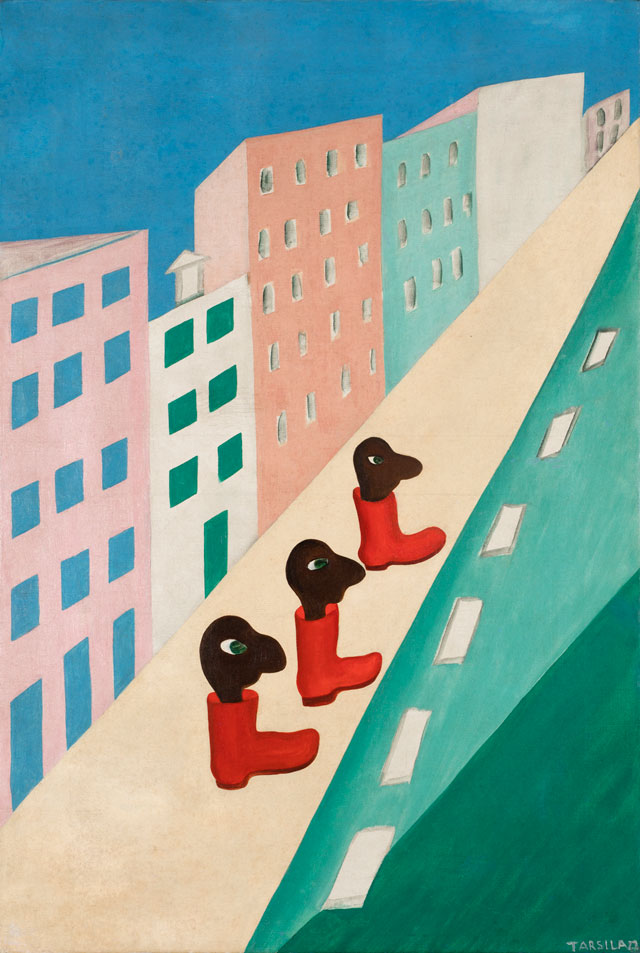 Tarsila do Amaral. City (The Street), 1929. Oil on canvas, 31 7/8 × 21 1/4 in (81 × 54 cm). Collection of Bolsa de Arte. © Tarsila do Amaral Licenciamentos.