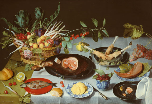 Jacob Van Hulsdonck. A Still Life of a laid Table, with Plates of Meat and Fish and a Basket of Fruit and Vegetables, c1615. On panel, the reverse prepared with gesso. Courtesy of Johnny Van Haeften Ltd, London.