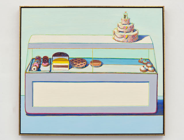 Wayne Thiebaud. Bakery Case, 1996. Oil on canvas, 60 x 72 in (152.4 x 182.9 cm). © Wayne Thiebaud/DACS, London/VAGA, New York 2017.