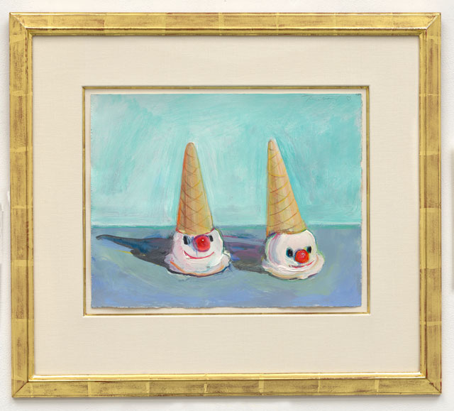 Wayne Thiebaud. Clown Cones, 2000. Acrylic and gouache on paper, 10 1/4 x 14 1/4 in (26 x 36.2 cm). © Wayne Thiebaud/DACS, London/VAGA, New York 2017.