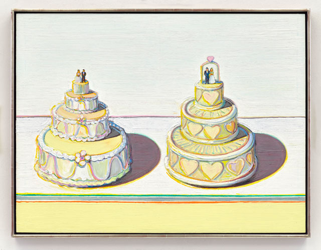 Wayne Thiebaud. Two Wedding Cakes, 2015. Oil on wood panel, 36 x 48 in (91.4 x 121.9 cm). © Wayne Thiebaud/DACS, London/VAGA, New York 2017.