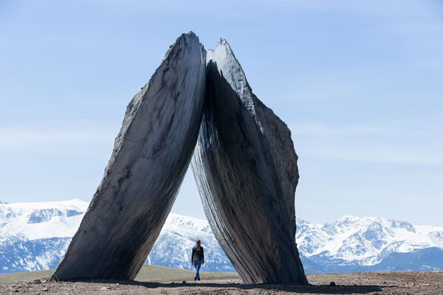 The Inverted Portal (2016) by Ensamble Studio (Antón García-Abril and Débora Mesa) at Tippet Rise. Image courtesy of Tippet Rise Art Center/Iwan Baan. Photograph: Iwan Baan.
