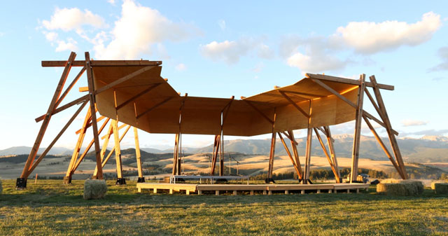The Tiara at Tippet Rise, design by Alban Bassuet and Willem Boning, with Arup Engineers. Lead Architect: Gunnstock Timber Frames. Image courtesy of Tippet Rise Art Center. Photograph: Alban Bassuet.