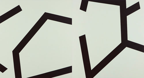 Wilma Tabacco. Entry/Exit, 2012. Oil on linen, two panels, 198 x 366 cm.