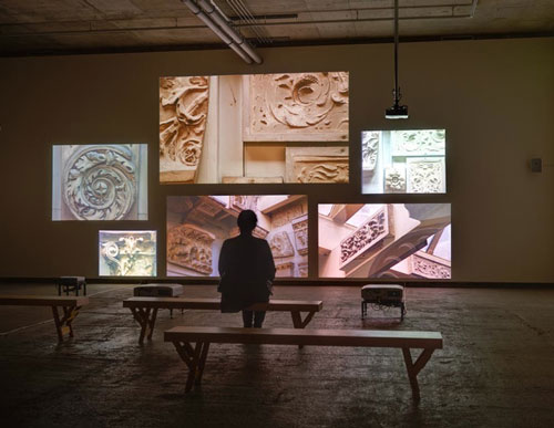 Fiona Tan. Inventory, 2012. HD video installation, six screens. Installation view, Frith Street Gallery, Golden Square. Photograph: Alex Delfanne.