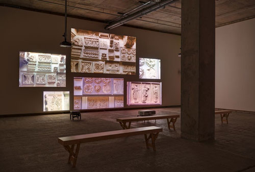 Fiona Tan. Inventory, 2012. HD video installation, six screens. Installation view 2, Frith Street Gallery, Golden Square. Photograph: Alex Delfanne.