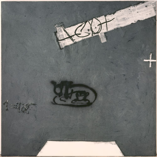 Antoni Tàpies. Tassa sobre gris, 2001. Mixed media on wood, 200 x 200 cm. © Fundació Antoni Tàpies, Barcelona/VEGAP, Madrid, 2012; Photography by Gasull Fotografía, Barcelona.