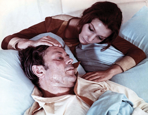 Still from <em>Solaris</em>. Natalya Bondarchuk as Hari and Donatas Banionis as Kris Kelvin. 1972.