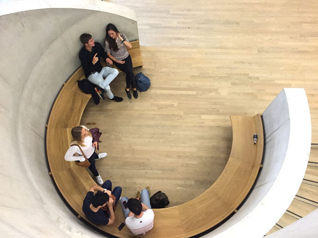 Tate Modern Switch House. Circular seating area. Photograph: Martin Kennedy.