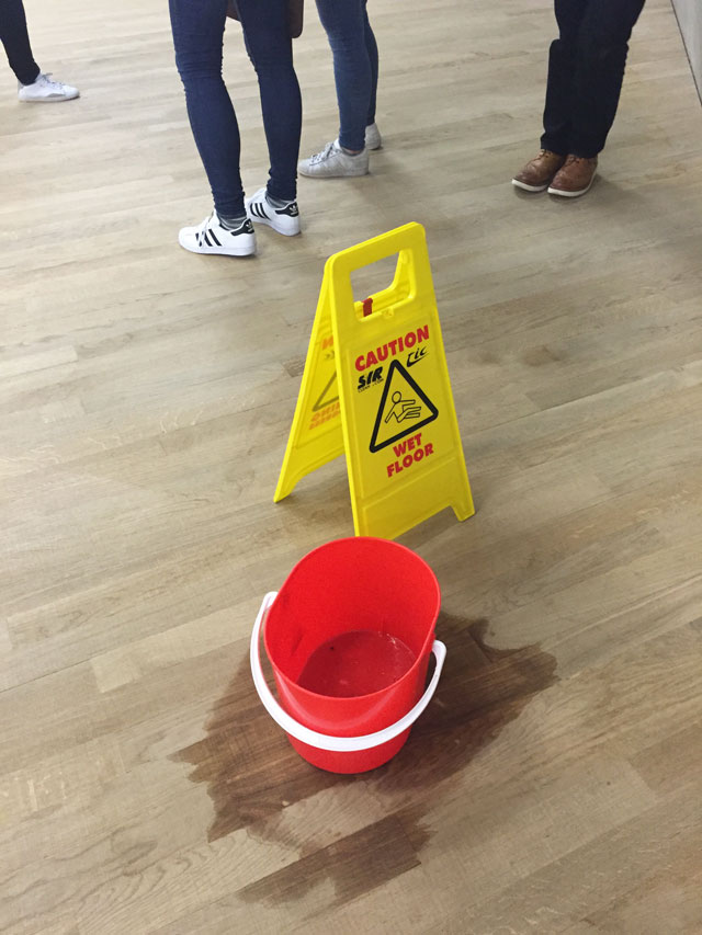 Due to the sudden torrential downpours that afflicted London in June, drip buckets were visible on almost every floor (23 June 2016). Photograph: Martin Kennedy.