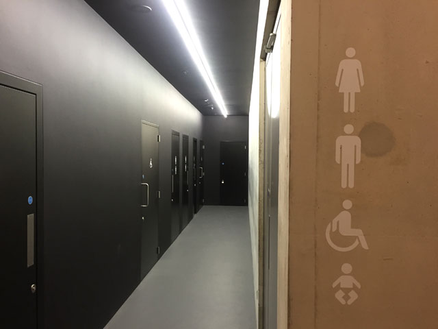 Tate Modern Switch House, interior view (toilets). Photograph: Martin Kennedy.
