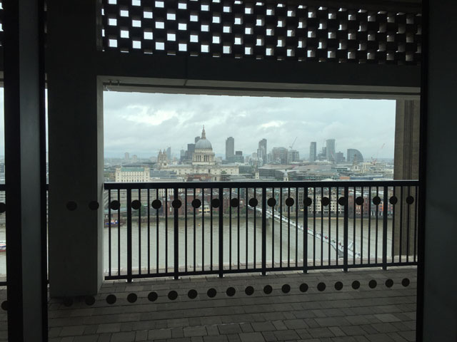 Tate Modern Switch House viewing terrace. View across the River Thames to St Paul's Cathedral. Photograph: Martin Kennedy.