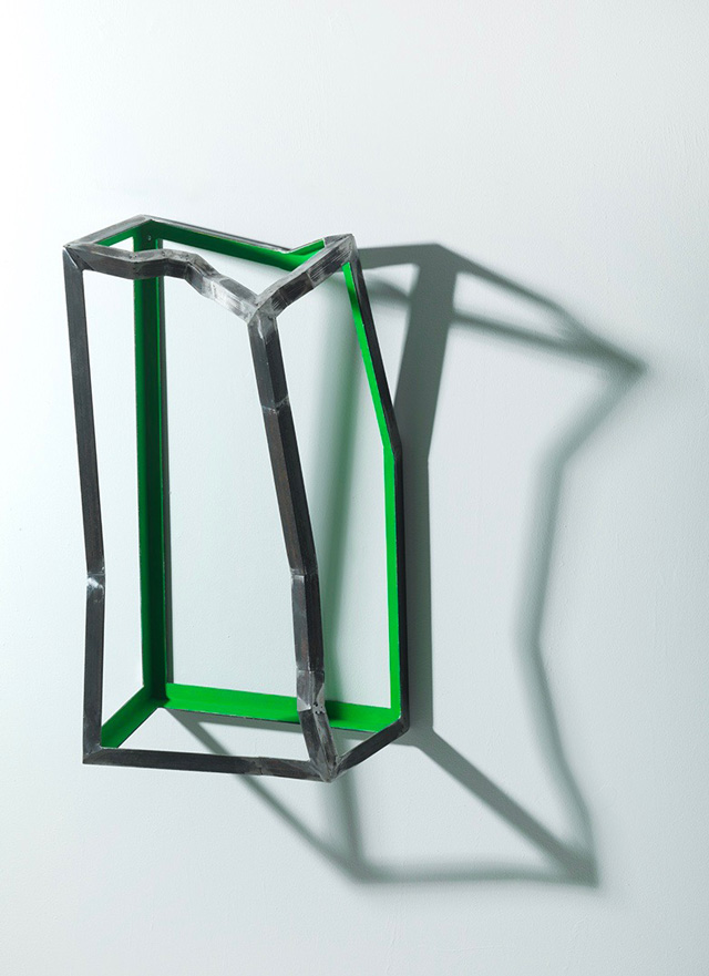 Almuth Tebbenhoff. Box for Green Birdthoughts, 2015. Fabricated steel, paint, 65 x 34 x 22 cm. Photograph: Steve Russell.