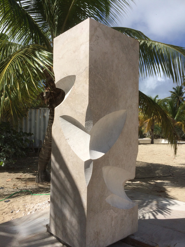 Almuth Tebbenhoff. Footprints in Anguilla, 2015. Anguillan Limestone, 260 x 85 x 65 cm. Photograph: Kevin Sharp.