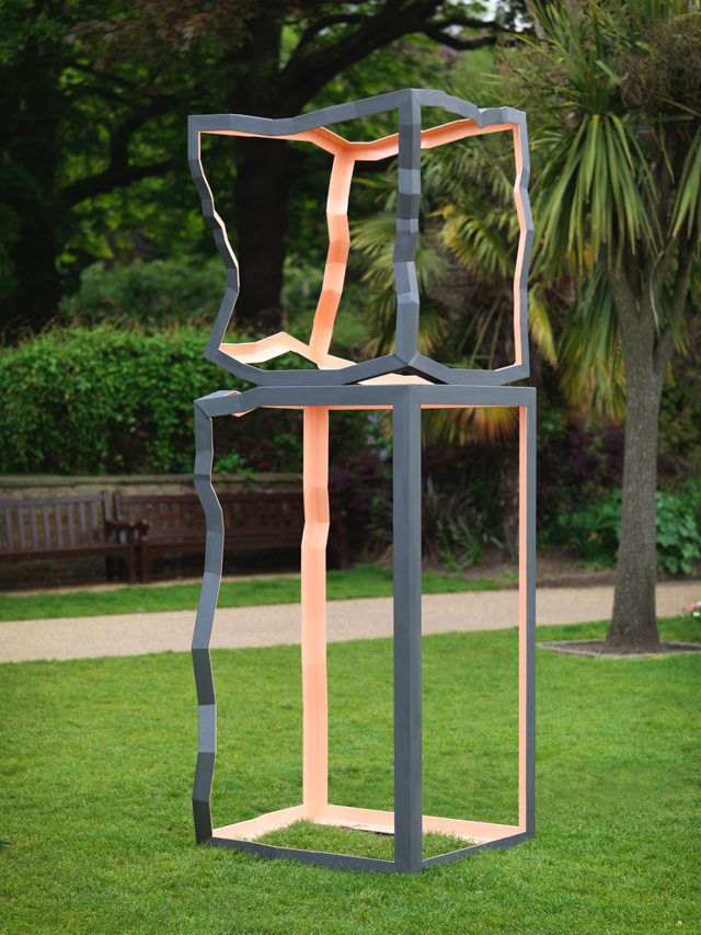 Almuth Tebbenhoff. Sunset (in Holland Park), 2014. Fabricated steel, painted, 300 x 120 x 100 cm. Photograph: Steve Russell.
