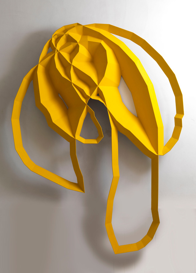 'Yellow' from Steel Garden, 1997, fabricated steel, painted, 195 x 145 x 20 cm Photograph Steve Russell.