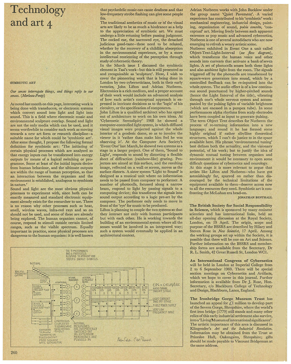 Technology and art 4: SYMBIOTIC ART. Studio International, Vol 177, No 912, June 1969, p. 260