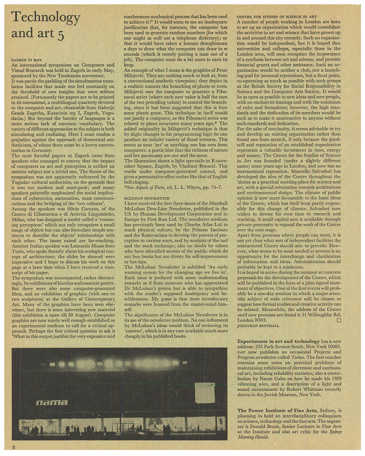 Technology and Art 5 Studio International, Vol 178, No 913, November 1969, p 8.