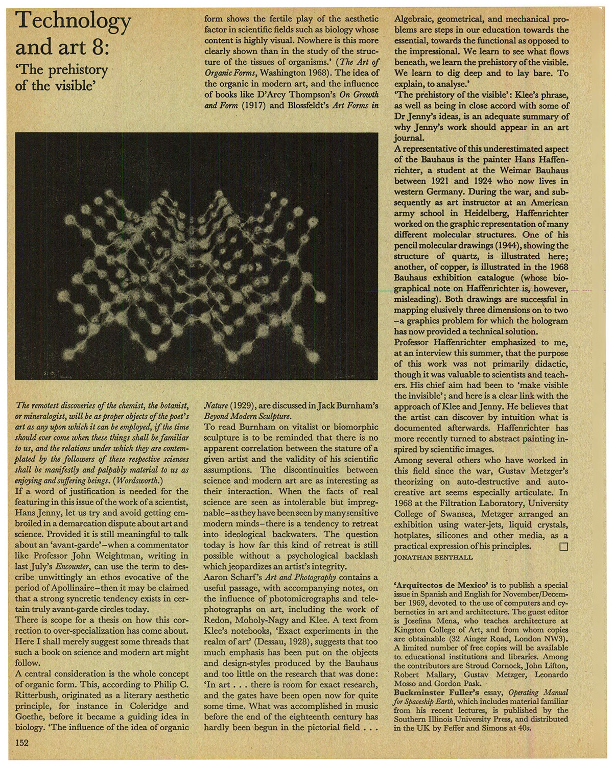 Technology and Art. Studio International, Vol 177, No 911, November 1969, p. 212