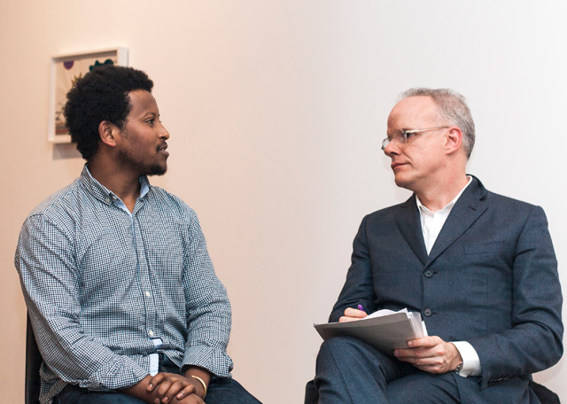 Robel Temesgen and Hans Ulrich Obrist at Tiwani Contemporary, 8 January 2016.