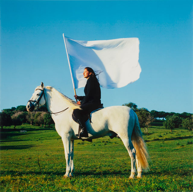 Marina Abramović. The Hero, 2001. Chromogenic Print, 126 x 126 cm. National Museum of Women in the Arts, Gift of Heather and Tony Podesta Collection, Washington, DC. © Marina Abramovic Archives.