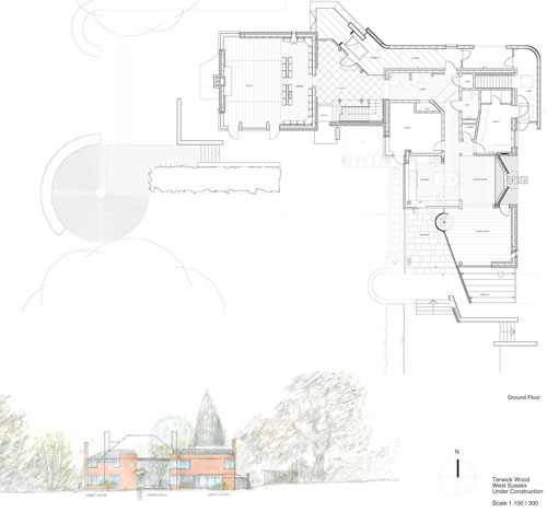 New Architecture by Trevor Dannatt. Ground floor plan.