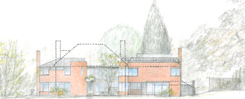 New Architecture by Trevor Dannatt. South elevation of the new house with the old house superimposed in outline.