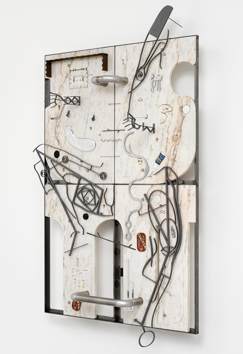 George Henry Longly. Trophic Cascade, 2015. Water jet cut marble, steel, aluminium, rubber; Shot blasted steel; mirror polished alumiunium tube; sardine tins; Regain, crushed whipped cream charger; steel chain; bright steel frame fixing, 160 x 110 x 10 cm. © the artist; Courtesy Lisson Gallery, London.