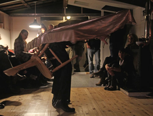 Jefford Horrigan. The Passenger, with William Blake, 19 September 2015 at Barge Ideal. Part of the suite Own Worst Enemy commissioned by Rose Lejeune for The Collective, 2015.