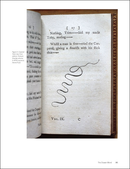 Corporal Trim's line. First edition, Tristram Shandy, volume 9. ©The Laurence Sterne Trust. The Drawn Word, page 95.