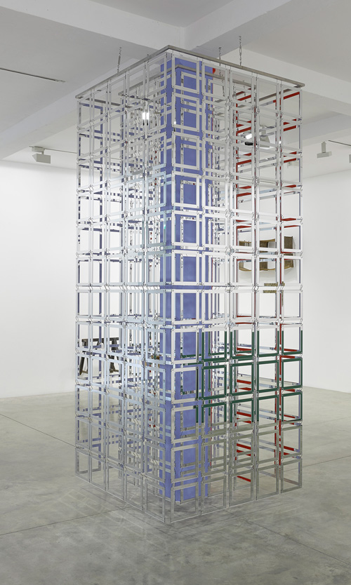 Carla Arocha & Stéphane Schraenen. Column, 2015. Acrylic, stainless steel and Plexiglas, 300 x 130 x 130 cm. Courtesy of the artists. Installation view photograph: Jack Hems.