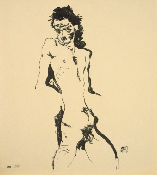 Egon Schiele. Self Portrait, 1917. Lithograph. 42 x 21cm. Courtesy Richard Nagy, London.