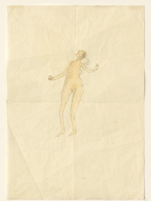 Joseph Beuys. Girl with Apple, 1954. Pencil and watercolour on paper, 29.5 × 21 cm. Courtesy Thaddaeus Ropac, Paris. DACS 2014.