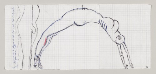 Louise Bourgeois. Hanging Figure, 2000. Drypoint on cloth, 30.5 × 31.8 cm. The Easton Foundation. DACS 2014.