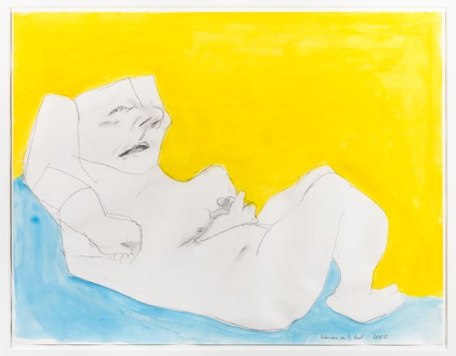Maria Lassnig. Woman in the Bed, 2002. Pencil and watercolour on paper, 50.2 × 64.1 cm.