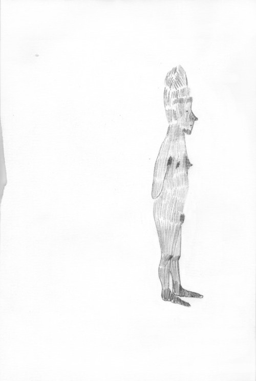 Rosemarie Trockel. I feel something, 1995. Graphite on paper, 31.5 × 21 cm.