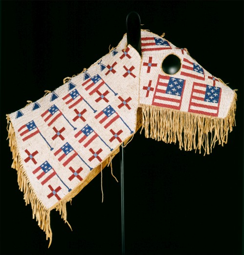 Horse Mask, c1900. Lakota (Teton Sioux) artist, North or South Dakota. Native tanned leather, glass beads, 28 ½ x 35 in (72.4 x 88.9 cm). Cooperstown (New York), Fenimore Art Museum, The Thaw Collection, gift of Eugene V. and Clare E. Thaw. Photograph: New York State Historical Association, Fenimore Art Museum, The Thaw Collection. (Cat.107).