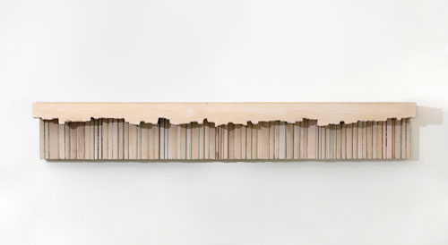 Rachel Whiteread. Untitled (Paperbacks), 2000. Plaster, polystyrene and steel 30.5 x 200.7 cm (12 x 79 in). © the artist. Image courtesy of the artist and Blain|Southern. Photograph: Todd White.