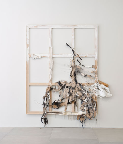 Rosy Keyser. Eve's First Confusion Between Penises and Snakes, 2012. String, sawdust, wood, enamel, dye and snakeskin 284.5 x 241.3 x 15.2 cm (112 x 95 x 6 in). © the artist. Image courtesy the artist and Blain|Southern. Photograph: Peter Mallet.