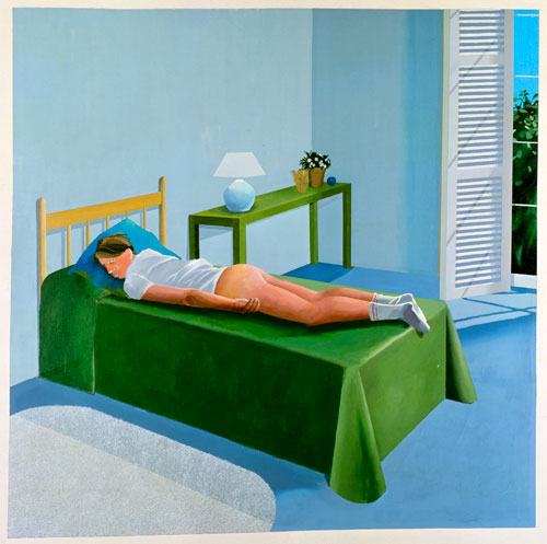 David Hockney. The Room Tarzana, 1967. Acrylic on canvas, 243.8 x 243.8 cm. © David Hockney.