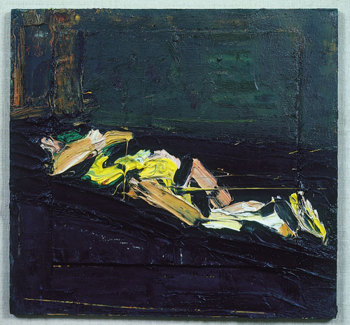 Frank Auerbach. Reclining Figure, 1972. Oil on board, 38.1 X 40.6 cm. Private Collection, NY. © Frank Auerbach.