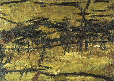 Frank Auerbach. Primrose Hill, Winter Sunshine, 1962-64. Oil on board, 104.1 x 144.8 cm. Private collection. © Frank Auerbach. Photograph: Peter Mallet.