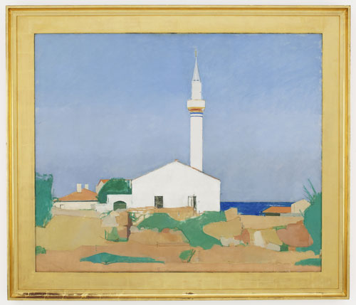 Euan Uglow. Mosque at Çiftlik Koyou, 1966. Oil on canvas, 105 x 121 cm. Collection of Ethne Rudd. © The Estate of Euan Uglow, Courtesy of Browse & Darby.