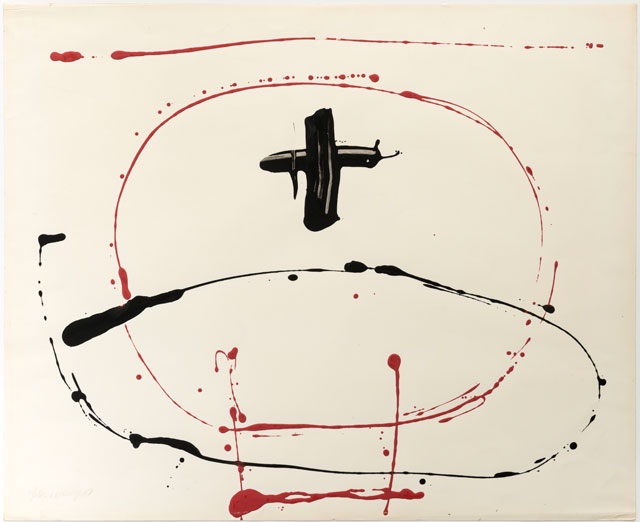 Franciszka Themerson. Calligramme II ('plus'), 1960. Red emulsion and black enamel paint on paper, 52 x 63 cm.