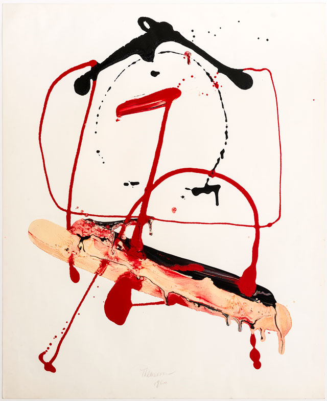 Franciszka Themerson. Calligramme VI ('H'), 1960. Black, red, and cream enamel paint on paper, 63.5 x 52 cm.