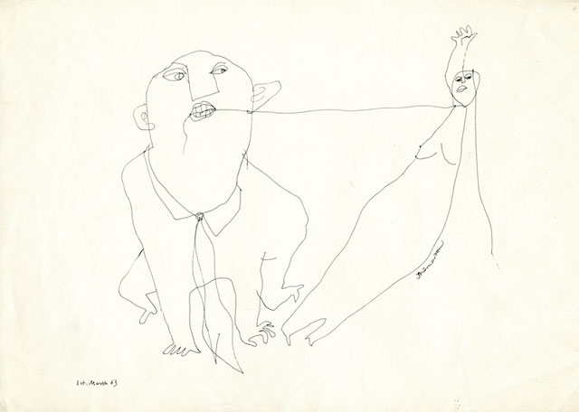 Franciszka Themerson. Party Games, 1963. Pen and ink on paper, 23.5 x 35.5 cm.