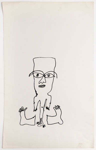 Franciszka Themerson. Man With Spare Feet, c1972. Ink on paper,